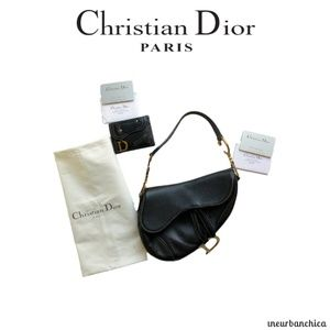 5c18ebd046f14f DIOR Black Leather Saddle Bag & Wallet
